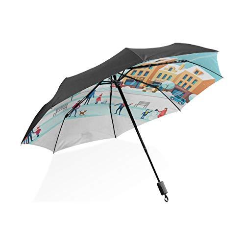 Paraguas Lluvia Gente Patinando sobre la Pista de Hielo Paraguas Plegable portátil Compacto Protección Anti UV Protección a Prueba de Viento Viajes al Aire Libre Mujeres Paraguas Grande invertido