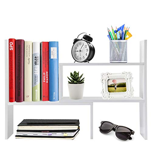 Desktop Organizer Office Storage Adjustable Display Bookshelf Double Shelf Desk Supplies for Office Kitchen Multipurpose Rack