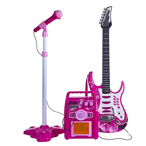 LEED Guitarra infantil de simulación de 6 cuerdas con reproductor de MP3, micrófono, amplificador, instrumentos musicales educativos para niños