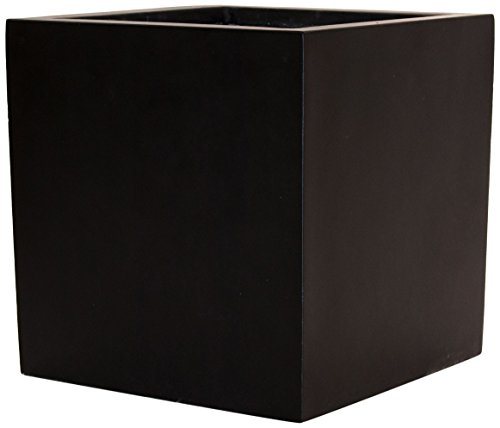 Pflanzkübel Blumenkübel Blumentopf Fiberglas Quadrat LxBxH 70x70x70cm elegant schwarz-matt.