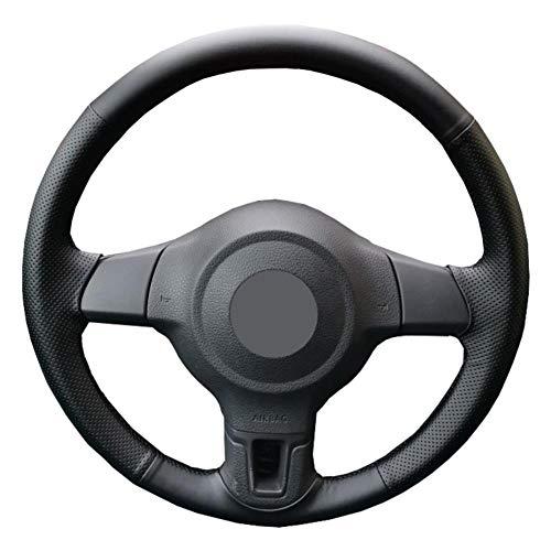 YHDNCG La Cubierta del Volante del Coche de Cuero Negro Cosida a Mano es Antideslizante y Resistente al Desgaste, para el Interior del Coche Golf 6 Mk6 Polo MK5 2010-2013