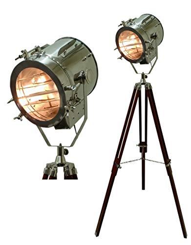 Hollywood Theater Nautical Spotlight Stehlampe Schwarz Holz Dreibein-Ständer