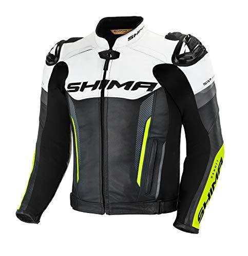 SHIMA BANDIT Chaqueta Moto Hombre - Cazadora deportiva moto hombre de cuero verano ventilado con deslizadores de hombro, CE espalda, hombros, codos protecciones, reforzado costuras dobles (Fluo, 50)
