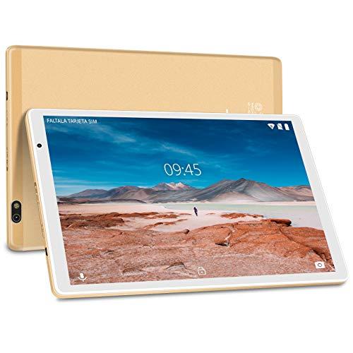 Tablet 10 Pulgadas Android 10.0 FACETEL Tablets 4RAM+64GB ROM Octa Core, Tablets 5.0+8.0 MP HD la Cámara,  Certificación Google GMS, 1280*800 Full HD Display | Bluetooth | WiF | GPS | Type- C- Oro