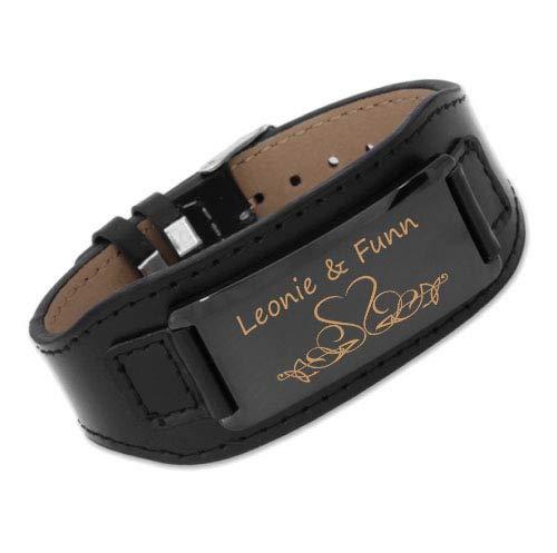 aplusashop ID Leder Armband mit Edelstahlplatte inkl. Gravur nach Wunsch in 3 Varianten Schwarz/braun Neu (Schwarz+ Schwarze Platte)