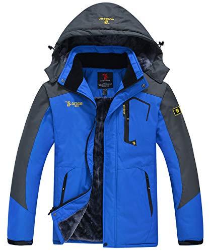 JINSHI Men's Mountain Waterproof Fleece Ski Jacket Windproof Rain Jacket (Blue,XL)