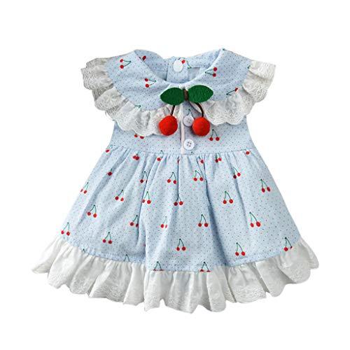 YWLINK Haustier FrüHling Und Sommer RüSchen Elegant Süß Party Kleid Atmungsaktiv Kirschdruck Rock-Kleidung Haustier-Hunderock(Blau,M)