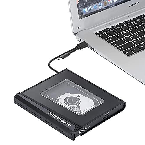 Aochakimg Externes CD/DVD-Laufwerk,USB 3.0 mit Type-C Tragbarer CD/DVD-Player für Laptop,DVD/CD-Laufwerk Reader Writer Brenner Kompatibel mit Laptop Desktop PC Windows Linux Apple Mac(Schwarz)