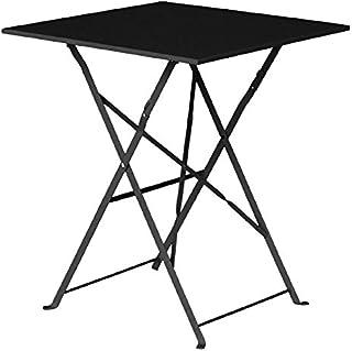 4af6d8654 Bolero - Mesa de acero para calle, diseño cuadrado, color negro, para  exterior