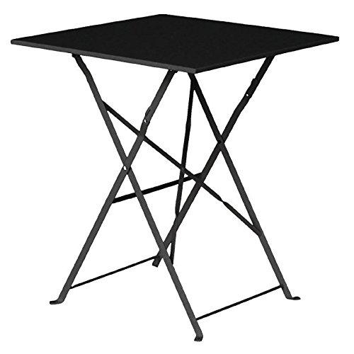 Bolero zwarte vierkante tafel in asfalt-stijl, stalen tafel voor buiten, restaurant, hotel