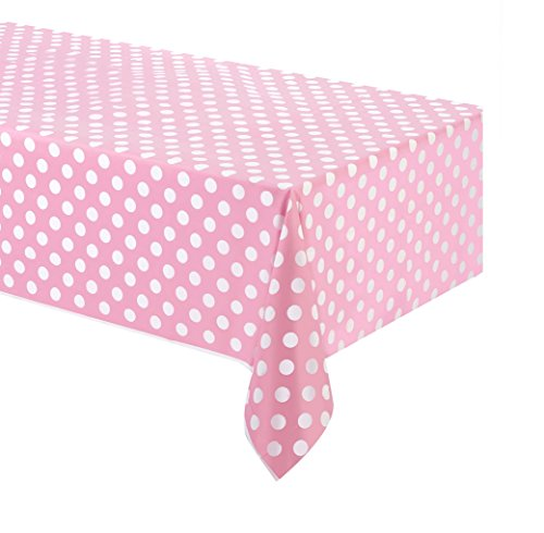 Takestop® Mantel de plástico para fiesta rosa lunares 132x 220cm USA y desechable impermeable cumpleaños boda nacimiento bautizo Party