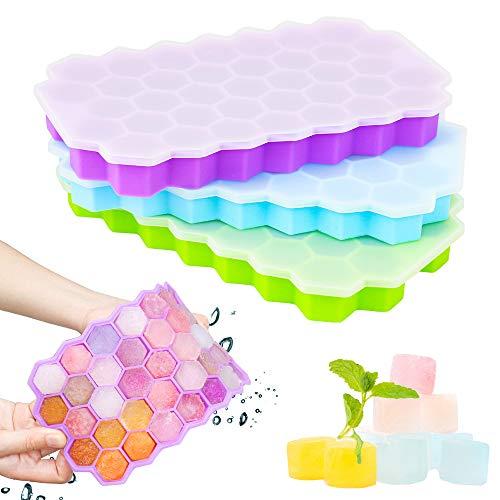 GoZheec 37 Fach Eiswürfelformen mit Deckel, 3 Stück Eiswürfelbehälter aus Silikon, FDA Zertifizierte Eiswürfelformen und BPA Frei, Ice Cube Tray Bier, Whisky, Fruchteiswürfel (Blau+Lila + Grün)