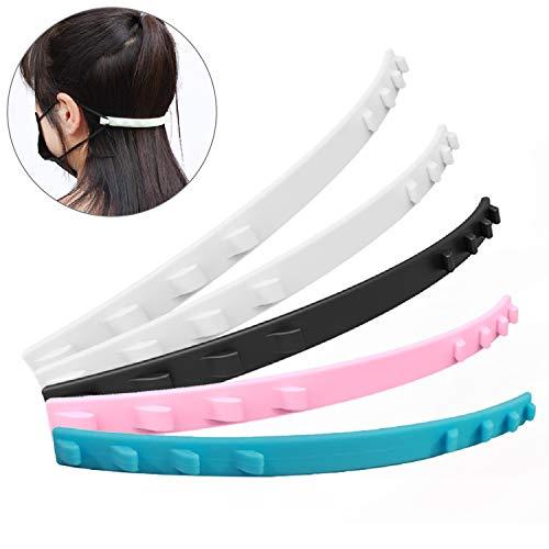 Monuary 5 Stück Maskenhaken, 4 Gang Verstellbarer Rutschfester Fixierer, Maske Ohrgriffe Verlängerungs Haken, Weiche Gesichtsmaske Ohrhaken Schnalle für Ohrenschmerz Präventionen