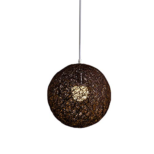 Agnes Bruce Coffee Bamboo Rattan Spherical Chandelier Personal Creative Spherical Rattan Nest Lampshade (Body Color : Chocolate)