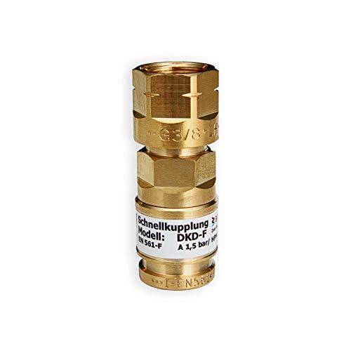 IBEDA Schnellkupplung DKD Schlauchkupplung mit Überwurfmutter, automatischer Gassperre und Push-Kupplungssystem für Brenngase, Sauerstoff und Inerte Gase, Ausführung:Brenngas G 3/8'' LH
