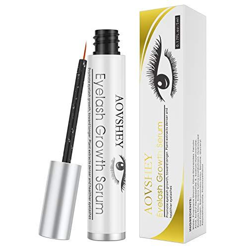 AOVSHEY 5ml Wimpernserum Augenbrauenserum mit Hyaluronsäure für Starkes und Schnelles Wimpernwachstum und Augenbrauenwachstum Eyelash Growth Serum Mehr Länge Dichte