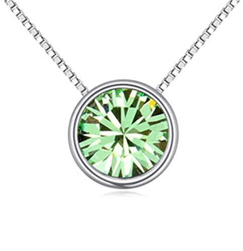 QUADIVA G! Collana da donna con ciondolo solitario Basic in WG (colore: oro bianco/cristallo verde) decorato con un cristallo scintillante di Swarovski®