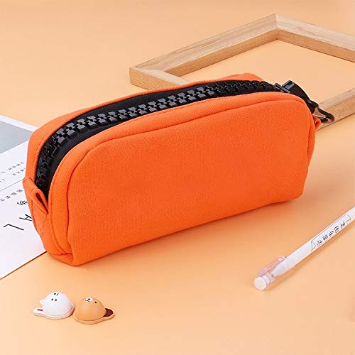 Large Capacity Zipper Multifunction Cute School Pencil Cases Bags Pen Box Gift Office School Stationery Supplies (Greetfrog) (Color : Orange)