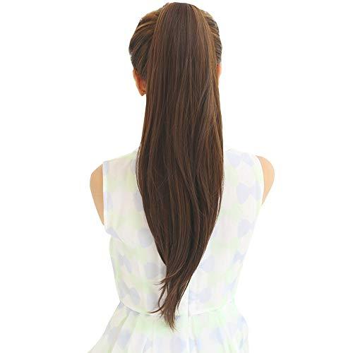 Nologo Perruque Cheveux Humains Queue de Cheval Remy Brésiliens Queue de Cheval Enrouler Autour de Queue de chevalet Perruque Cheveux Pièces Naturel Queue Droite ZHQHYQHHX