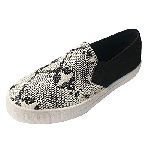 Dorical Damen Leopard Drucken Bootsschuhe Freizeitschuhe Slip On Sneaker Sportschuhe Laufschuhe Mokassins Halbschuhe Schuhe Damenschuhe(Grau,39 EU)