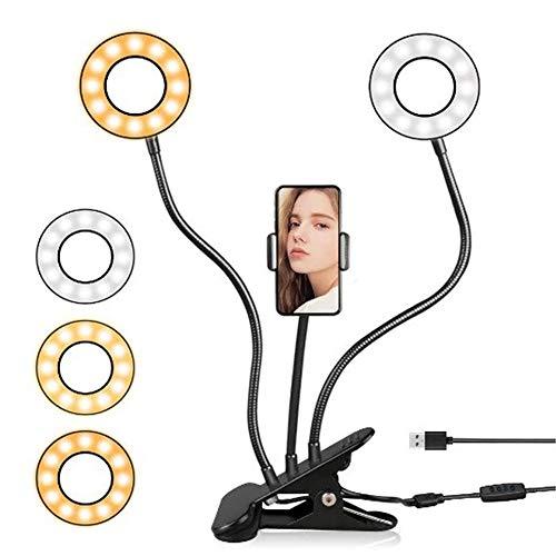 SDlamp Soporte De Soporte con Lámpara LED Lámpara De Anillo De Fotografía De Brazo Flexible, Modo De 3 Luces, Lámpara De Escritorio LED De Brillo De 10 Niveles, para Video De Youtube En Vivo