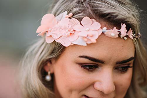 10-08 Blumenkranz Blüten Haarschmuck Braut Hochzeit wedding Hairdress Boho Vintage Diadem Brautkleid Perlen flowers in the hair