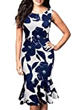 FORTRIC Women Sleeveless Fishtail Floral Work Bodycon Party Dress Dark Blue L