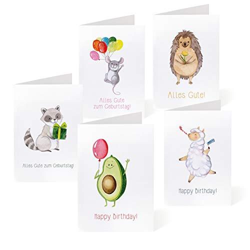 NORTH-WEST ® Geburtstagskarten Set mit Umschlag 5 Stk. | Geburtstag/Glueckwunschkarte/Geschenk für Mama, Freundin, Kinder | Happy Birthday Karte| einfach beschriftbar | Glueckwunsch Gutschein Karten