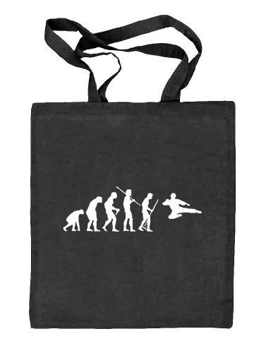Shirtstreet24, EVOLUTION KUNG FU, Kampfsport Karate Judo Stoffbeutel Jute Tasche (ONE SIZE), Größe: onesize,schwarz natur