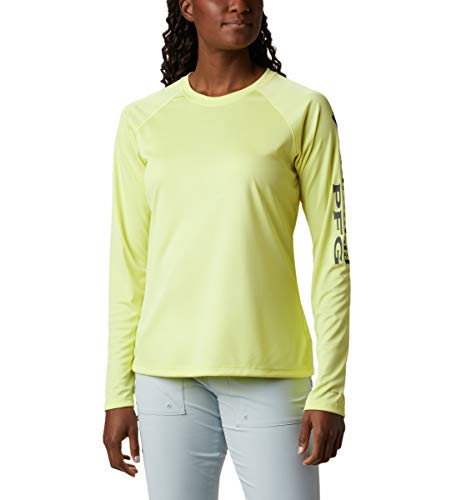 Columbia Women's PFG Tidal Tee Ii Long Sleeve W/Wicking & Uva Protection, Sunnyside/City Grey Logo, Large
