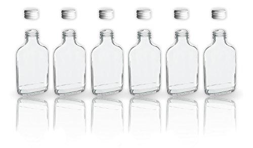6 botellas de cristal 200 ml con tapa a rosca + 2 mini embudo/20 cl en botellas de vidrio para llenar/tapón de sample botellas para los aceites, whisky, whisky, Ron etc.