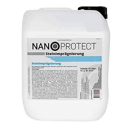 Nanoprotect Steinimprägnierung | Profi Qualität | Vorbeugend gegen Grünbelag und Einschmutzung | 5 L für ca. 40-60 m²