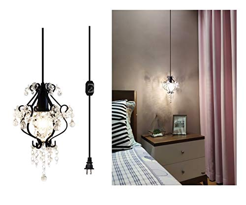 Surpars House Mini Dimmable Chandelier Plug in Crystal Pendant Light with 15ft Cord,Black