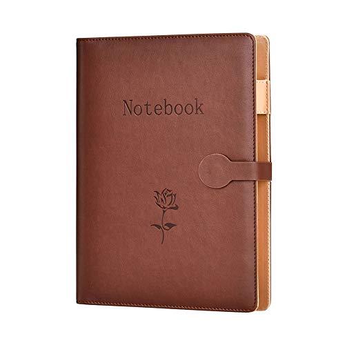 Agenda A5 de piel, apta recambio, diario, cuaderno de viaje, de redacción, de negocios, agenda con bolsillo, cuaderno de conferencias, agenda de 240 páginas gruesas., color Cuero Marrón