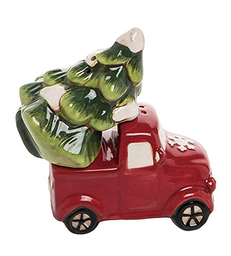 Transpac Christmas Truck and Tree Salt & Pepper Set - Red Christmas Farm Truck Decor