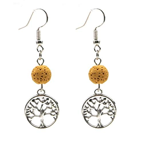 SALAN Tree Of Life Dangle Charms Earrings Colorful 8mm Aromatherapy Lava Bead Diy Essential Oil Diffuser Earrings Matched Acc Jewelry