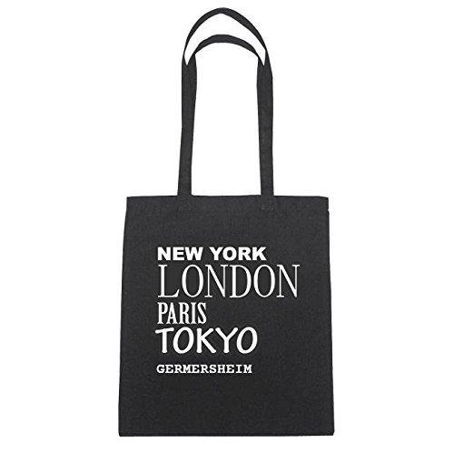JOllify GERMERSHEIM Baumwolltasche Tasche Beutel B1582black - Farbe: schwarz: New York, London, Paris, Tokyo