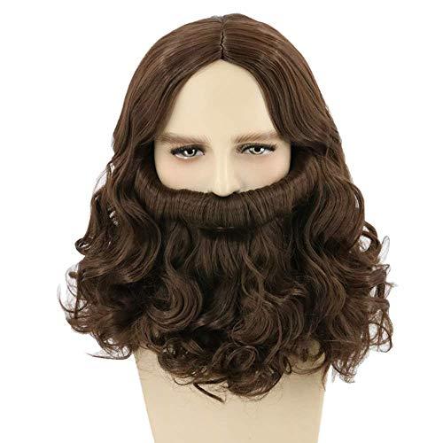 Topcosplay Peluca de Jesús con Barba Larga Peluca Marrón para Hombres Adultos Jésus Cristo Peluca Para Disfraz de Halloween Carnaval
