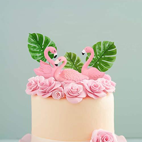 LaVenty Mini SIZE Flamingo Cake Toppers Flamingo Birthday Cake Decoration for Tropical Hawaiian Luau Themed Party Supplies