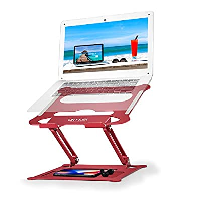 "Urmust Laptop Notebook Stand Holder, Ergonomic Adjustable Ultrabook Stand Riser Portable with Mouse Pad Compatible with MacBook Air Pro, Dell, HP, Lenovo Light Weight Aluminum Up to 15.6""(Red)"