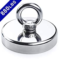DIYMAG Super Strong Neodymium Fishing Magnets, 880 lbs(399 KG) Pulling Force Rare Earth Magnet with Countersunk Hole Eyebolt Diameter 3.55 inch(90mm) for Retrieving in River and Magnetic Fishing