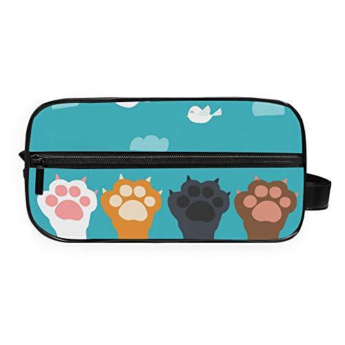 Bolsa de aseo RELEESSS con estampado de huellas de gato, ligera, portátil, para viaje, maquillaje, cosméticos, bolsa de mano para mujeres y niñas