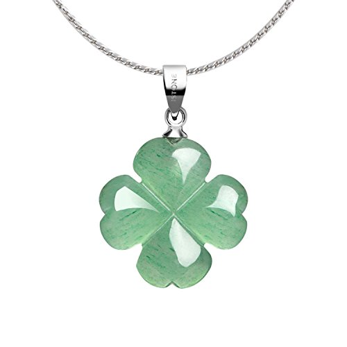"""iSTONE Four Leaf Clover Pendant Necklace Green Aventurine Gemstone Pendant Necklace 18"""" (Green Aventurine)"""