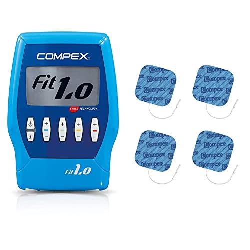Compex Fit 1.0 Electroestimulador, Unisex, Azul + Performance Eléctrodos Auto-Adhesivos, 4 Unidad