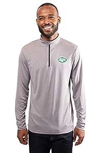 Ultra Game Mens NFL Moisture Wicking Soft Quarter Zip Long Sleeve Tee Shirt, New York Jets, Charcoal Heather, X-Large