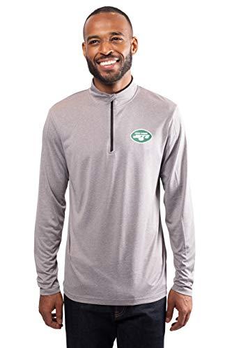 Ultra Game Mens NFL Moisture Wicking Soft Quarter Zip Long Sleeve Tee Shirt, New York Jets, Heather Gray, Small