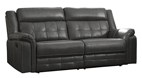 "Homelegance Keridge 85"" Leath-Aire Reclining Sofa, Gray"