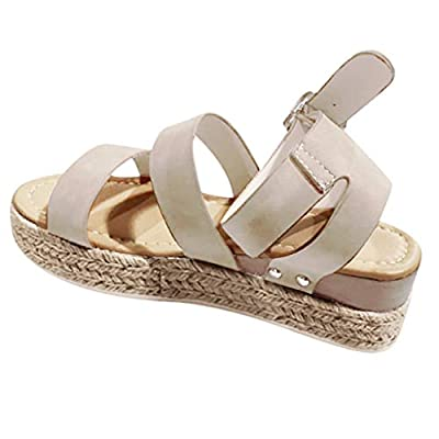 Women Vintage Thick Bottom Sandals Peep Toe Soft Summer Ankle Strap Platforms Sandals Studded Casual Shoes by Lowprofile