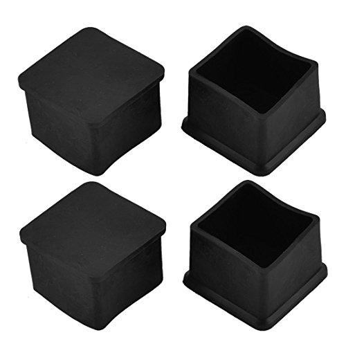 Sourcingmap 35 x 35mm carré Pied Table Meubles Pied en Caoutchouc Noir 4pcs Capuchons