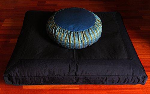 Meditation Cushion Buckwheat Zafu Pillow & Zabuton Set -Teal Black